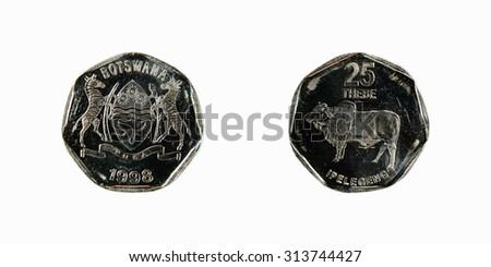 Coin  Republic of Botswana 25 thebe - stock photo