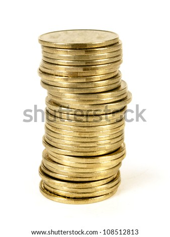 coin stack isolated on white - stock photo