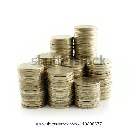 Coin thai bath on white background - stock photo