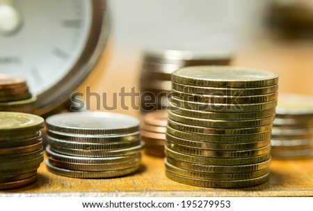 Coin with Time, Investment concept. - stock photo