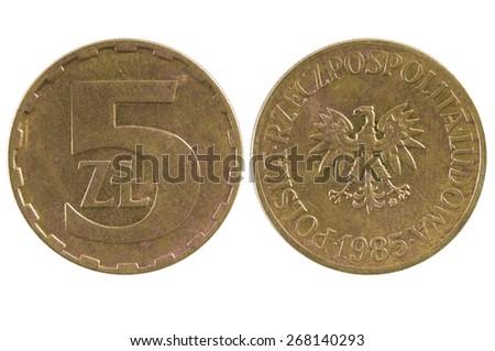 Coin 5 zloty. Poland - stock photo