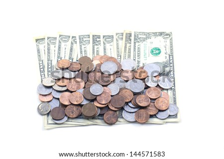 Coins and bills - stock photo