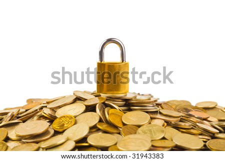 Coins and lock isolated on white background - stock photo