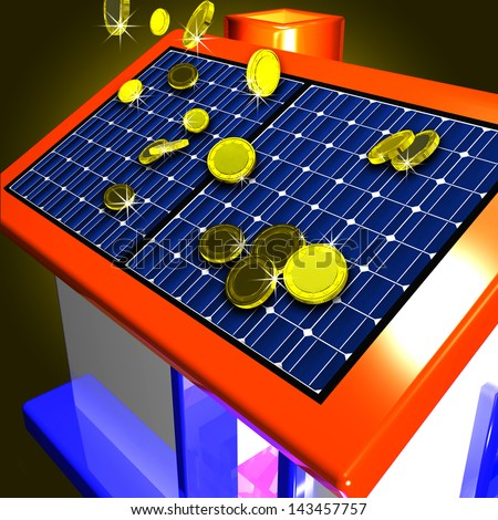 Coins Falling On House Shows Electricity Saving Or Reduced Taxes - stock photo