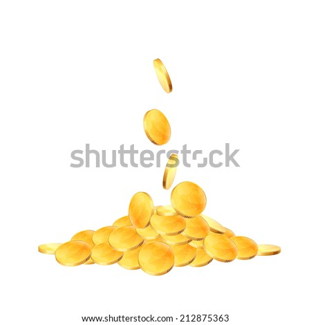 Coins falling on white background. Raster copy. - stock photo