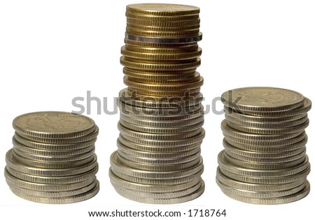 Coins, isolated on white - stock photo