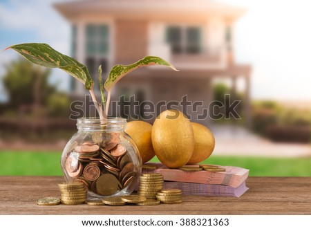 coins jar with sprout growing, banknote, golden eggs, golden coin on new house background. Investment property concept. Concept of Tax planning of housing. Investment growth concept. - stock photo