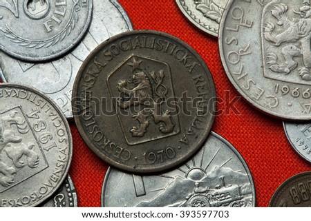 Coins of Czechoslovakia. Coat of arms of the Czechoslovak Socialist Republic depicted in the Czechoslovak one koruna coin (1970). - stock photo