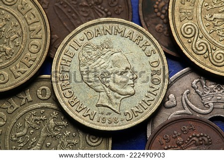 Coins of Denmark. Queen Margrethe II of Denmark depicted in Danish krone coins. - stock photo