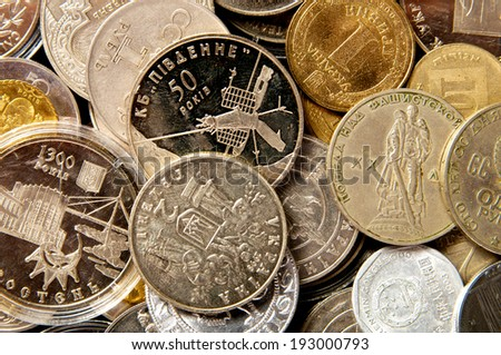 Coins of different countries. coin collection - stock photo