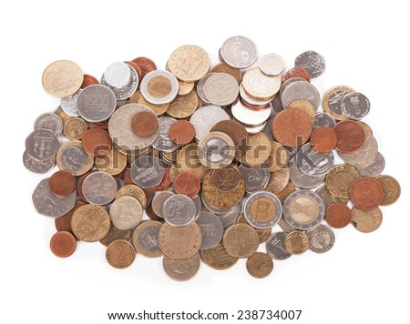 Coins of different countries on  white background - stock photo