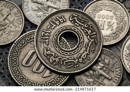 Coins of Egypt. Egyptian twenty five piaster (qirsh) coin. - stock photo
