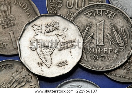Coins of India. Map of India as a symbol of the Indian national integration depicted in the Indian one rupee coin. - stock photo