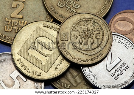 Coins of Israel. Replica of an ancient coin with lulav between two etrogim depicted in the Israeli 5 agorot coin. - stock photo