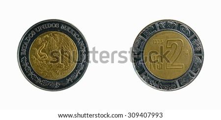 coins of Mexico 5 Peso 1995 - stock photo