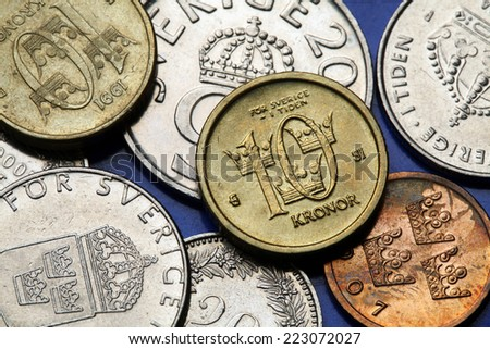 Coins of Sweden. Swedish ten kronor coin. - stock photo