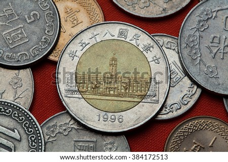Coins of Taiwan. Presidential Office Building in Taipei, Taiwan depicted in the Taiwan 50 dollars coin (1996). - stock photo