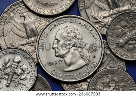 Coins of USA. George Washington depicted on the US quarter coin. - stock photo