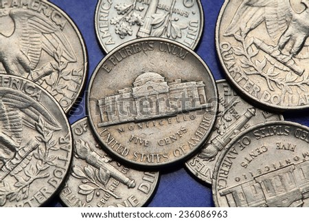 Coins of USA. Monticello Estate owned by Thomas Jefferson depicted on the US nickel coin. - stock photo