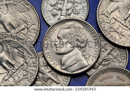 Coins of USA. Thomas Jefferson depicted on the US nickel coin. - stock photo