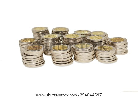 Coins on a white background - stock photo