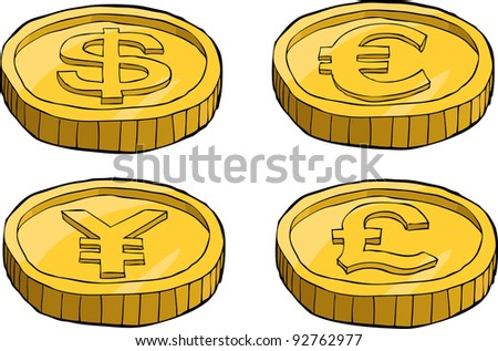 Coins on a white background, raster - stock photo