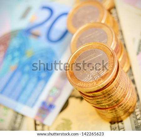 Coins on denominations - stock photo