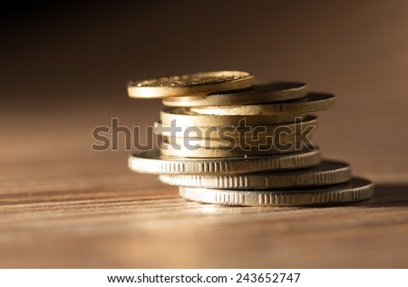 coins on the table. close-up - stock photo