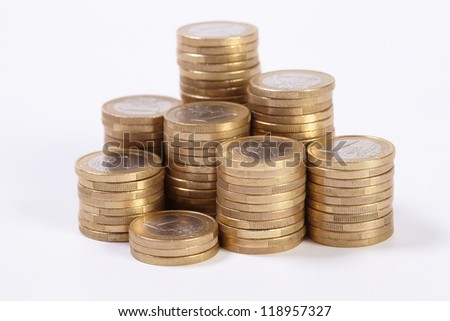 coins on the white - stock photo