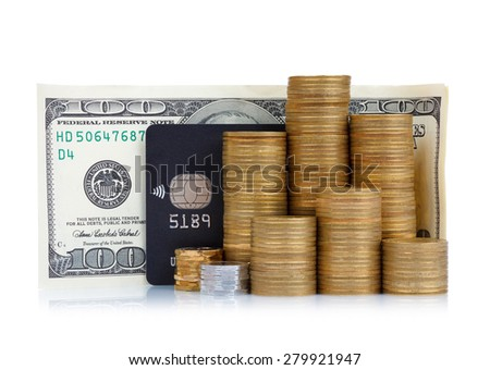 Coins stack, credit card and dollar banknote isolated on white background - stock photo
