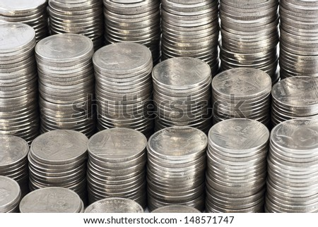 coins stack isolated on white background  - stock photo
