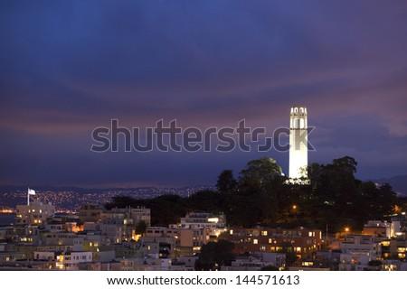 Coit tower dusk - stock photo