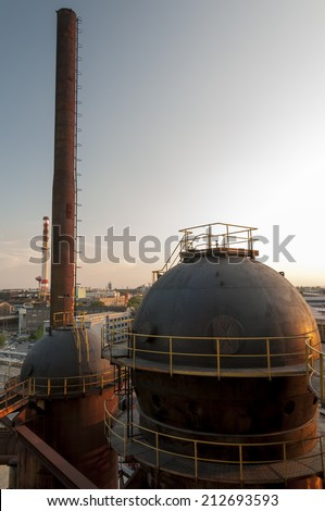 Coking plant, blast furnaces and the other technological facilities of metallurgical basic industry and energetics - stock photo
