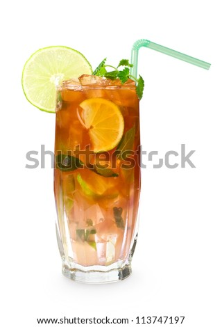 coktail with cola, ice, mint and lime - stock photo