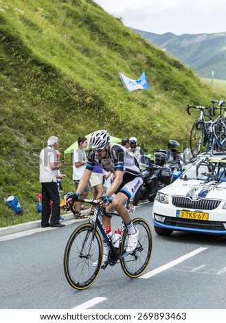 COL DE PEYRESOURDE,FRANCE-JUL 23:The cyclist Tom Dumoulin (Team Giant Shimano ) climbing the road to Col de Peyresourde during the stage 17 of Le Tour de France on 23 July 2014. - stock photo