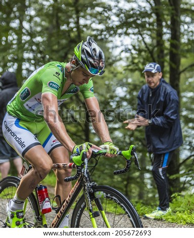 COL DU PLATZERWASEL,FRANCE - JUL 14: The Cyclist Peter Sagan ,wearing The Green Jersey, climbing the road to mountain pass Platzerwasel in Vosges Mountains, during Le Tour de France on July 14 2014 - stock photo