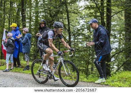 COL DU PLATZERWASEL,FRANCE - JUL 14: The Spanish cyclist Markel Irizar Arranburu climbing the road to mountain pass Platzerwasel in Vosges Mountains, during Le Tour de France on July 14 2014 - stock photo