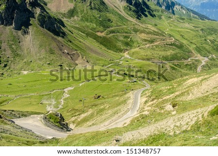 COL DU TOURMALET, FRANCE - AUGUST 21: The Col du Tourmalet is one of the most famous climbs on the Tour de France. August 21, 2013 in Col du Tourmalet, France  - stock photo