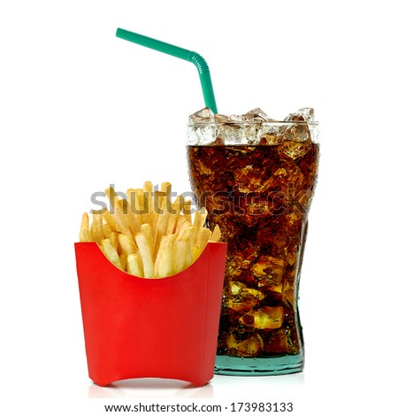 Cola and french fries on white background - stock photo