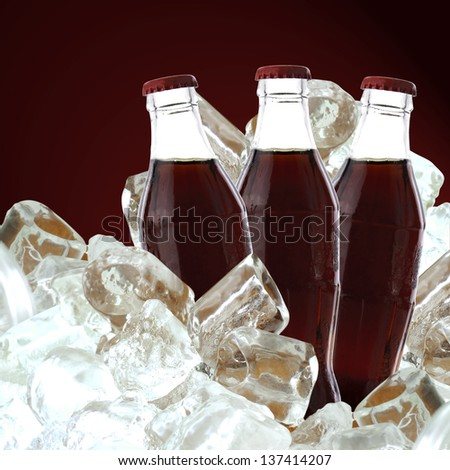 Cola drink with ice, clipping path - stock photo