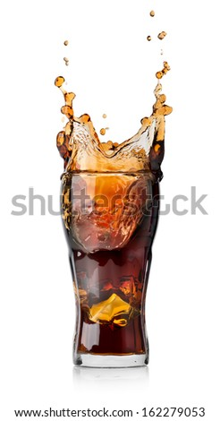 Cola drink with splash isolated on white background - stock photo