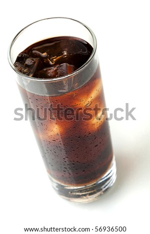 Cola glass, above view, isolated on white background - stock photo