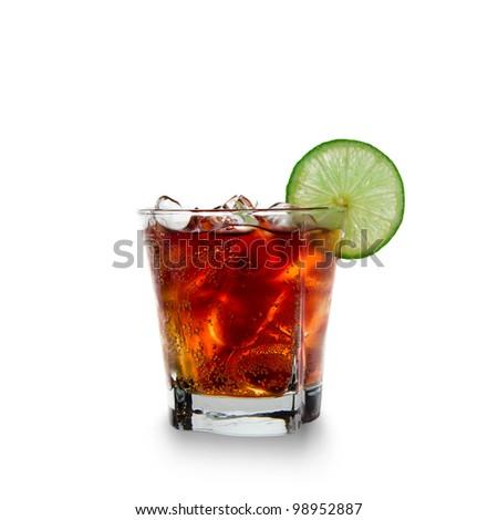 Cola glass over white background - stock photo
