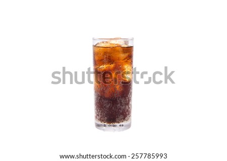 Cola in highball glass isolated on white background - stock photo