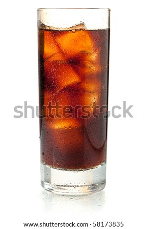 Cola in highball glass. Isolated on white background - stock photo