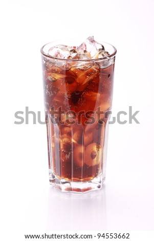 Cola in highball glass, isolated on white background - stock photo
