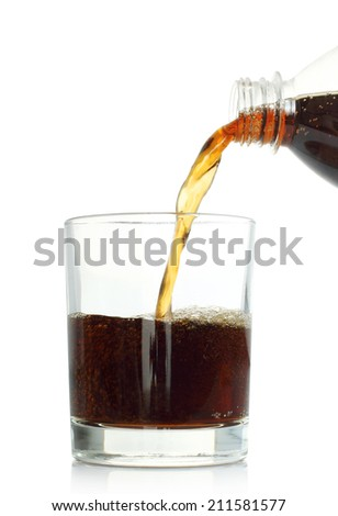 Cola pouring into glass on white background   - stock photo