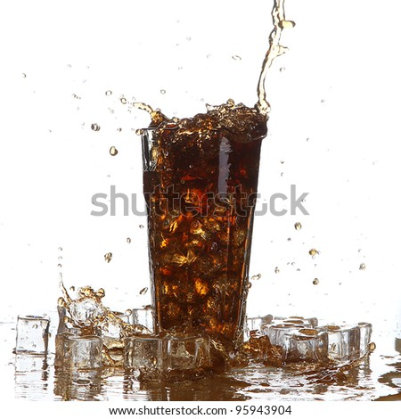 cola splash and ice cubes - stock photo