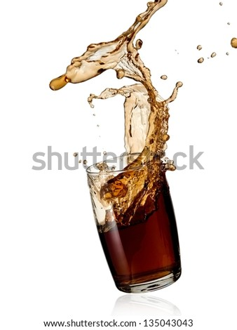 Cola splash from a glass - stock photo