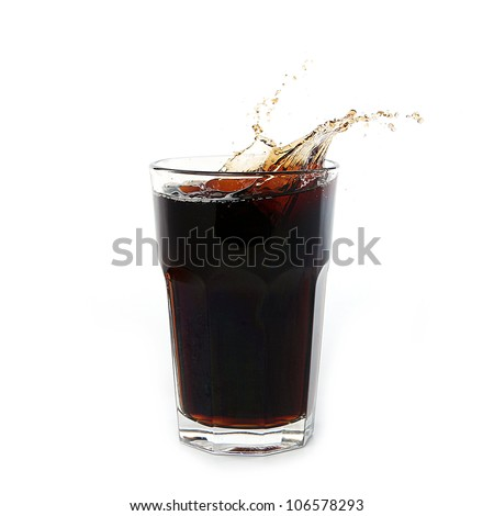 Cola splash in glass isolated on white - stock photo